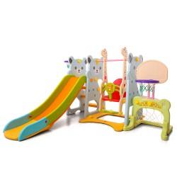 Пързалка с люлка и баскетболен кош Bear - 18004