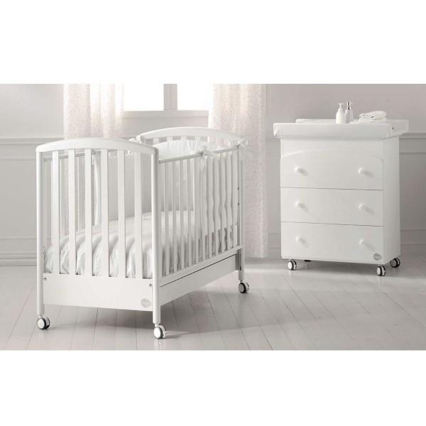 Бебешко креватче.скрин с вана и повивалник и спален комплект 4 части Cucciolo Бял 2018