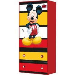 Двукрилен гардероб с цветни елементи и картинка